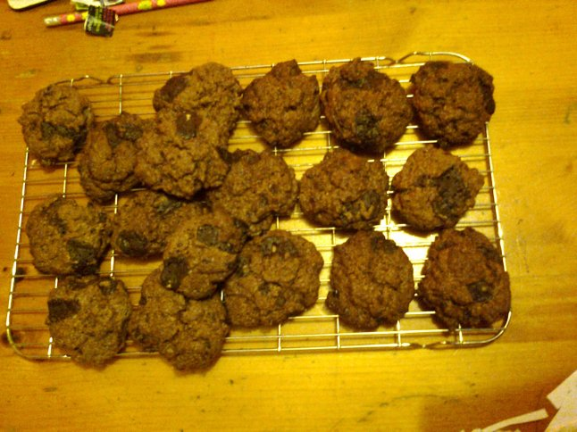 VEGAN DOUBLE CHOCOLATE CHIP COOKIES (not a brilliant photo but, take my word for it, they're good!)