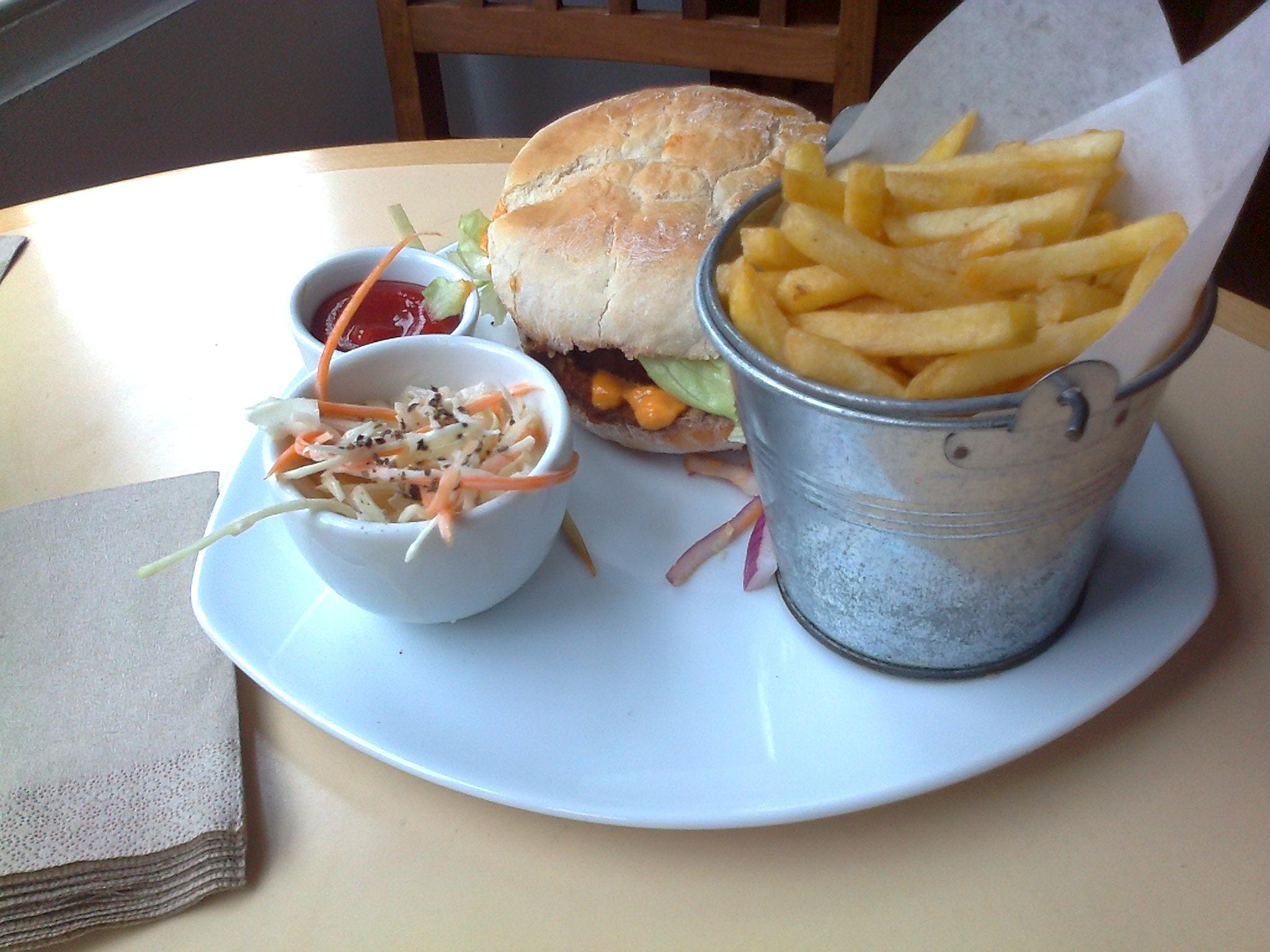vegan burger and fries at VBites