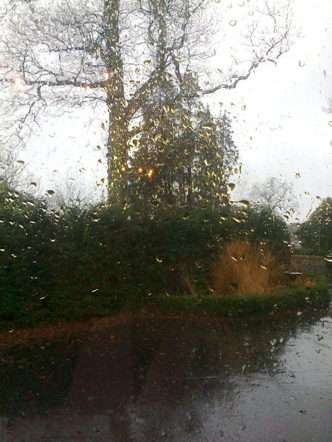 view of the rain through the window