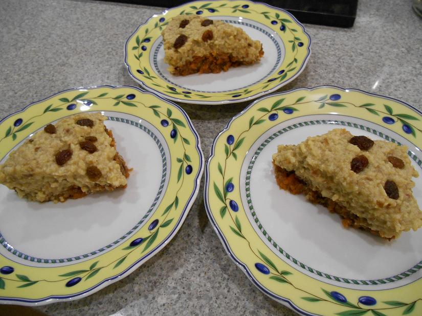 3 slices of raw carrot cake