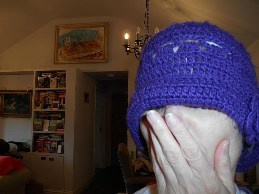 saggy purple hat