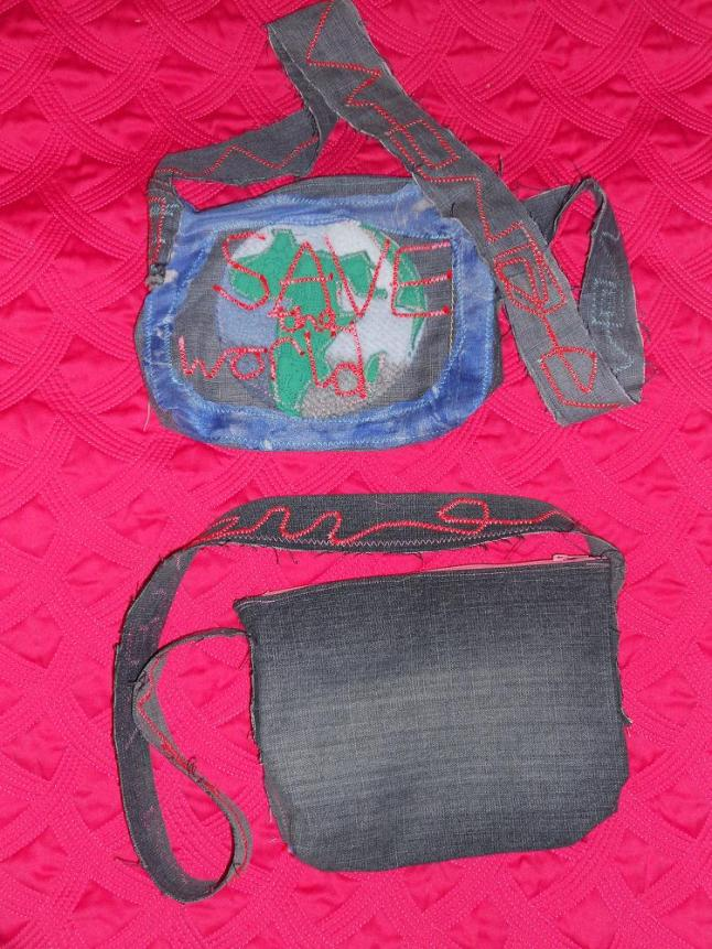 vegan upcycled bag front and back