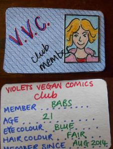 Violet's Vegan Comics club member