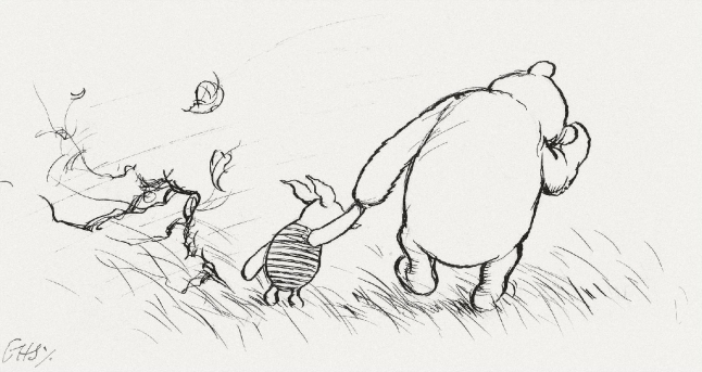 winnie the pooh and piglet by E H Shepard