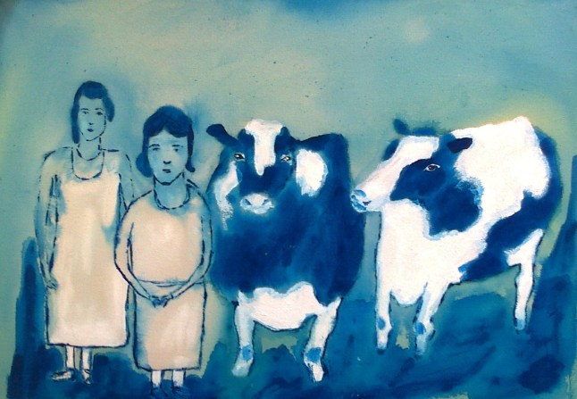 people and cows