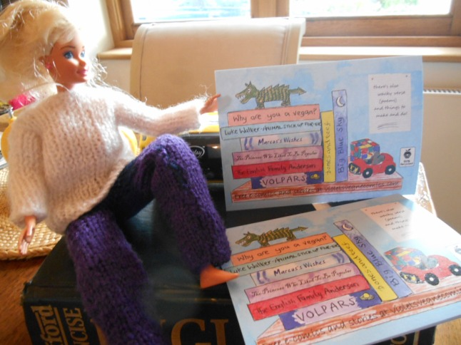 postcards 1 Babs posing with cards