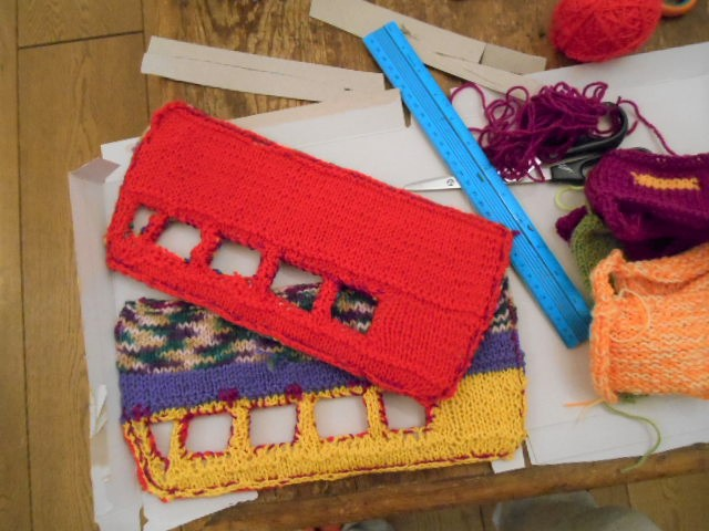 knitted toy bus