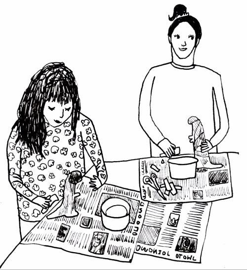 Vegan book for children making papier mache dinosaurs in home school
